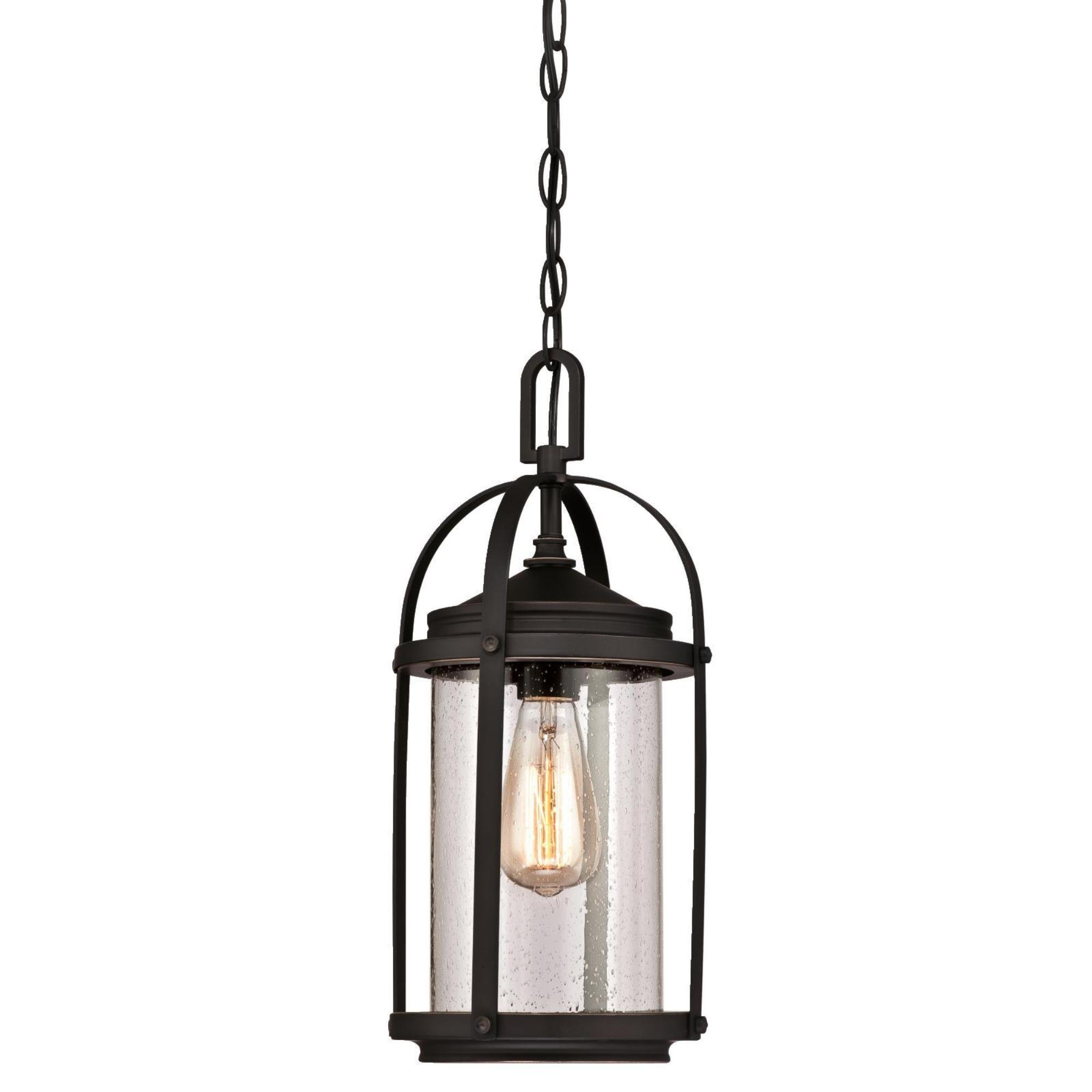 Westinghouse Lighting 6339400 Grandview One-Light Outdoor Pendant, Oil Rubbed Bronze Finish with Highlights and Clear Seeded Glass by Westinghouse Lighting