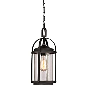 Westinghouse Lighting 6339400 Grandview One-Light Outdoor Pendant, Oil Rubbed Bronze Finish with Highlights and Clear Seeded Glass
