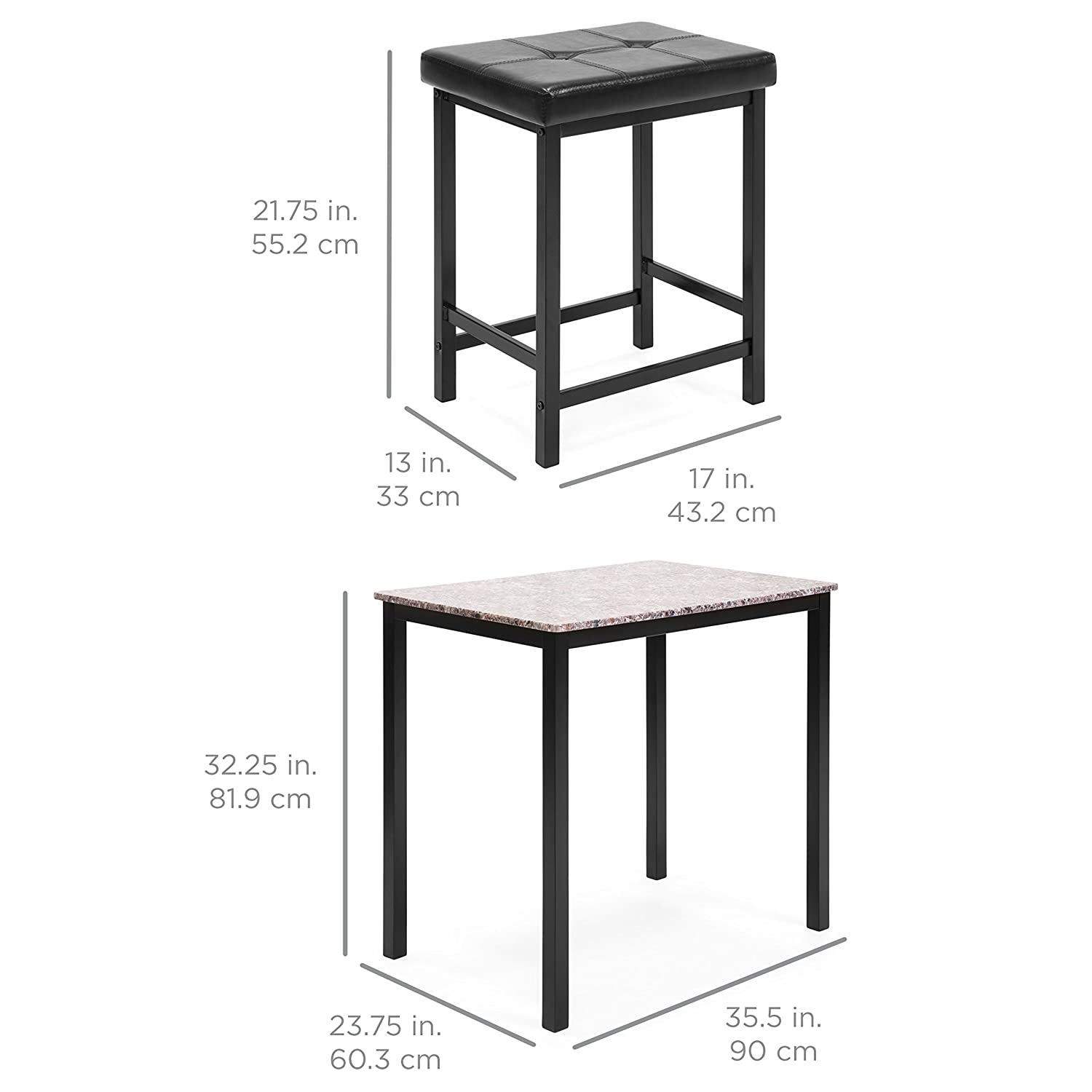 Best Choice Products Marble Counter Height Table Dining Set w// 2 Faux Leather Stools