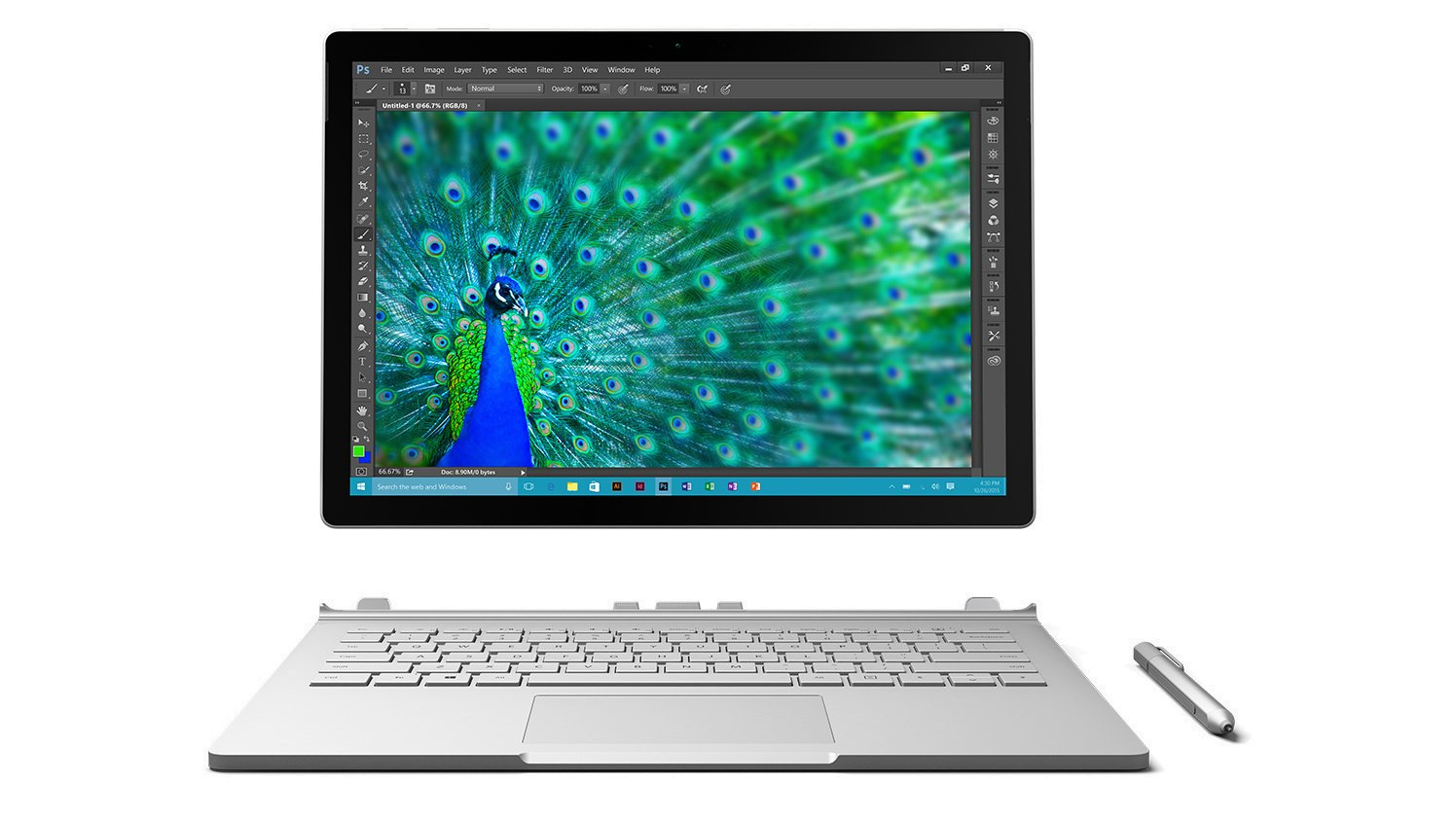 Microsoft Surface Book Tablet PC - 13.5'' - PixelSense - Wireless LAN - Intel Core i5 i5-6300U Dual-core (2 Core) 2.40 GHz - Silver TP4-00001 by Microsoft