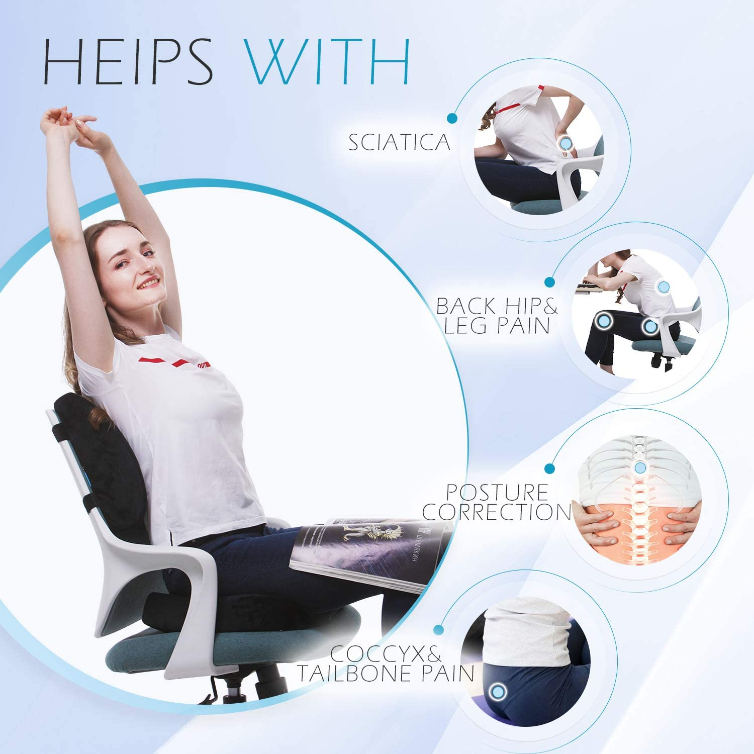 Amazon Com Coccyx Orthopedic Seat Cushion And Lumbar Support Pillow For Office Chair Memory Foam Car Seat Cushion With Washable Cover Ergonomic Desk Chair Cushion For Tailbone Lower Back Pain Sciatica Relief Furniture
