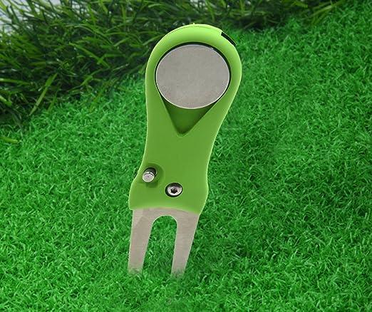 HOGAR AMO Manual Golf Pitch Tenedor con Marcador de Bola Magnética de Alto Grado de Golf de Acero Inoxidable Divot Herramienta de Reparación Tool ...