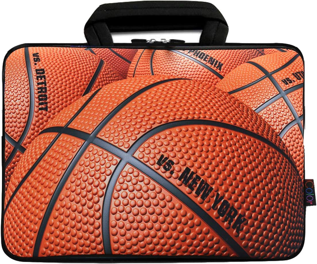 "icolor 11.6"" 12"" Laptop Bag Case 12.2 12.5 Inch Protective Chromebook Notebook Ultrabook Sleeve Tablet Holder Cover Neoprene Carrying Pouch with Handle(Basketball)"