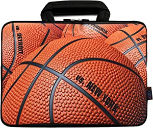"icolor 10"" Laptop Sleeve Bag Case 10.1"" 10.2"" 9.7"" Tablet Handbag Carrier 8"" eBook Computer PC Netbook Readers Protection Carrying Cover Holder Carrying Pouch-Basketball"