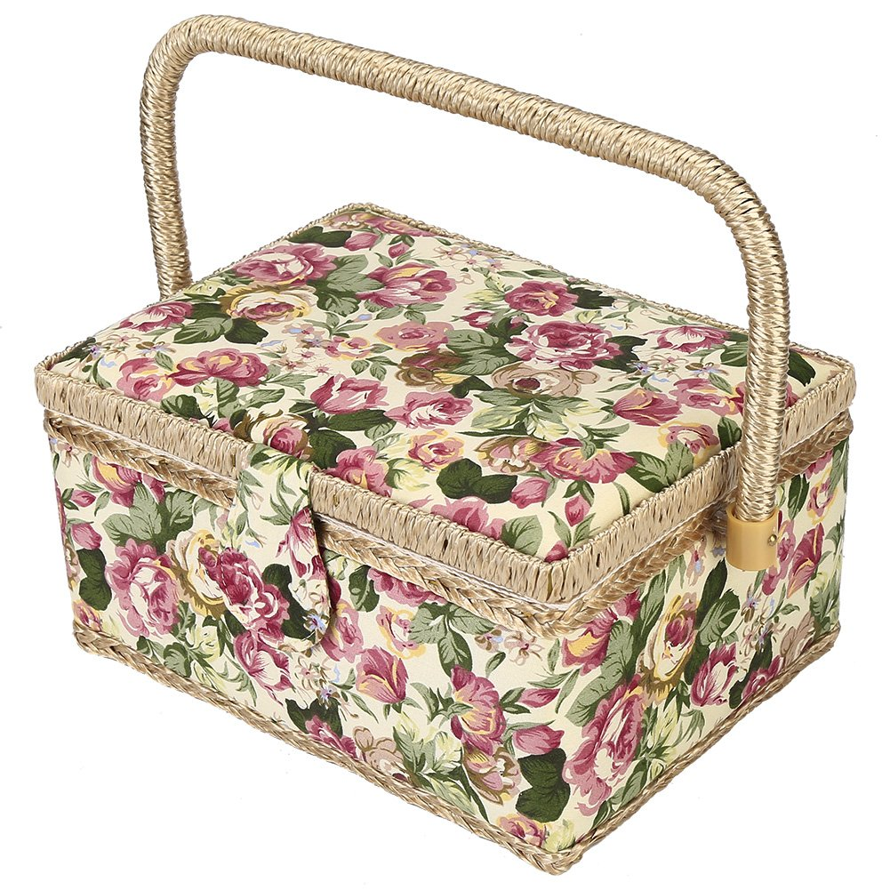 Fabric Covered Sewing Basket, 3 Colors Handmade Wood Storage Basket Fabric Crafts Sewing Kit Storage Box with Handle and Removable Tray for Sewing Accessories(3) Wal front