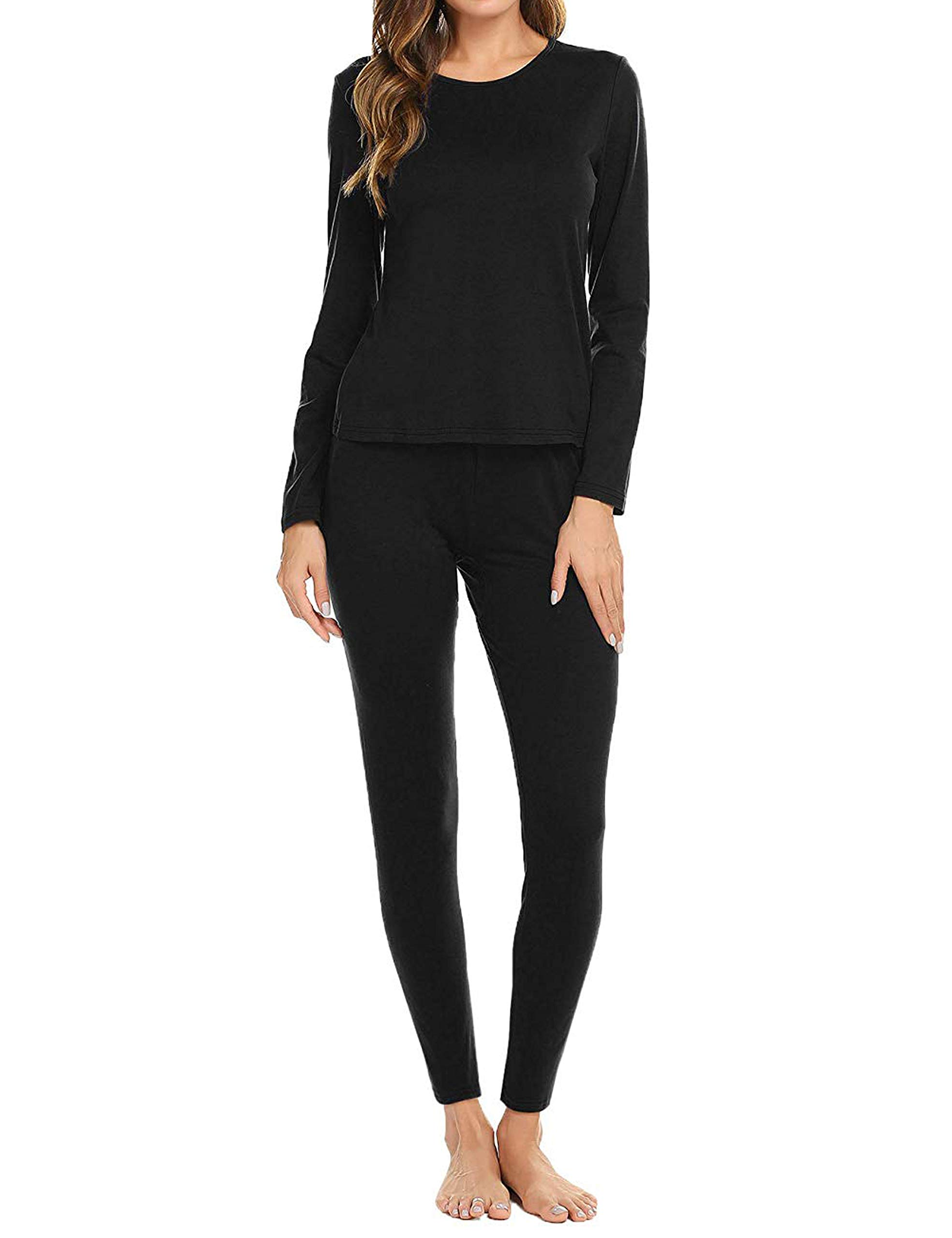 Aifer Women's Round Neck Thermal Underwear Set Long Base Layer for Winter