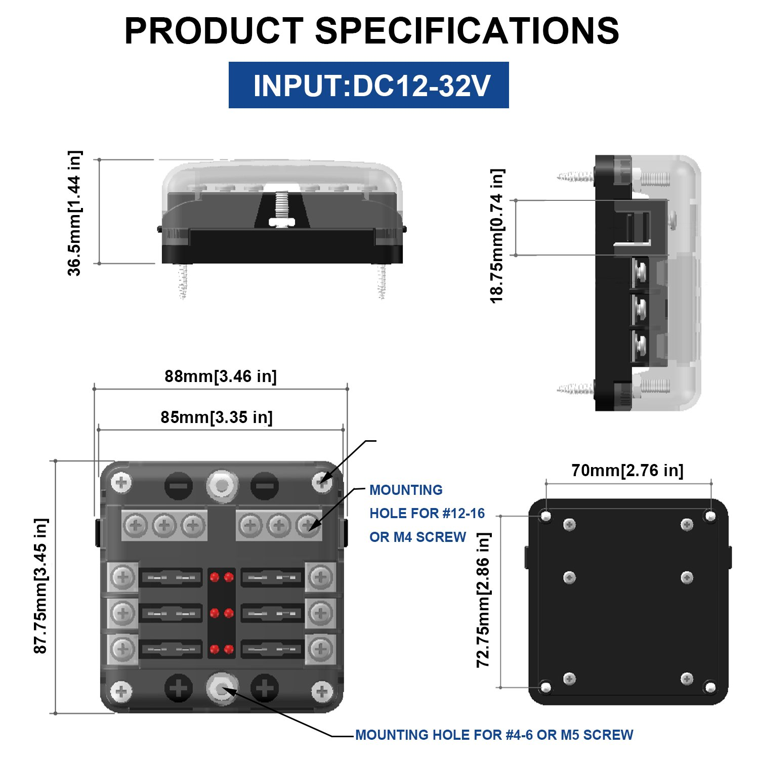 TURN RAISE 12 Way Blade Fuse Block,DC 32V 100 Amp Standard Fuse Holder Box With LED Indicatorfor//Dual Independent Positive Connections
