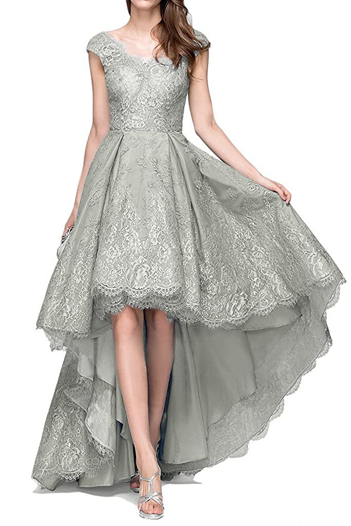 Womens Floral Lace High Low Beaded Cap Sleeve Homecoming Dress Evening Gown V Neck