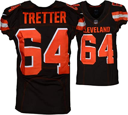 Cheap J.C. Tretter Cleveland Browns Game Used #64 Brown Jersey vs. Atlanta  hot sale