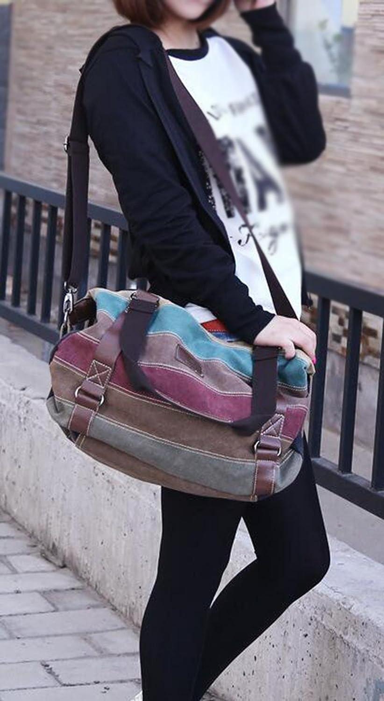 CHAOYANG Rétro toile messenger bag hit couleur arc-en-sac d'épaule mosaïque sac de loisirs de grande capacité RhJJSMr