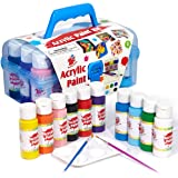 TBC The Best Crafts Acrylic Paint Set Kit, 10 Bottles(20 fl. Oz) Acrylic Paint for Kids with Paint Brushes & Palette, Beginne
