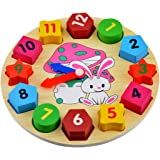 Souarts Rabbit Clock Baby Early Educational Wood Wooden Toys Best for Christmas