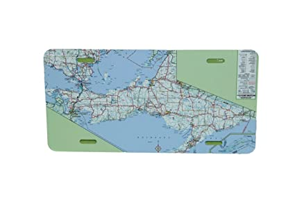 michigan up road map license plate 6 x 12 inches new aluminum yooper