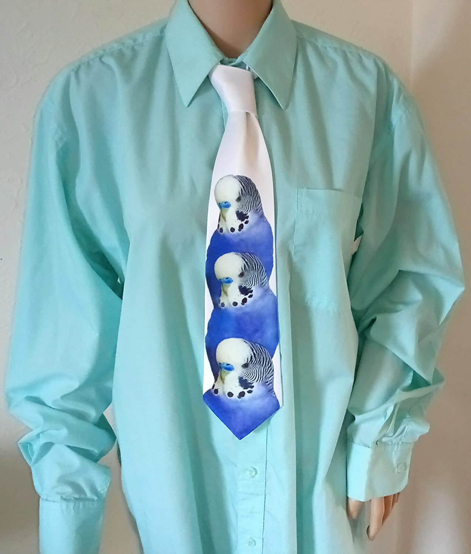 Blue Budgie Budgerigar Novelty Tie Necktie