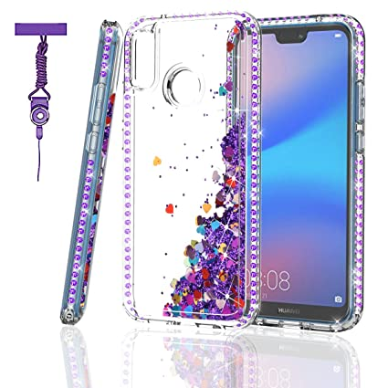 ZingCon Suit for Huawei Nova 3E(not Nova 3) Phone Case,Huawei P20 Lite Glitter Case with Bling Quicksand Sparkle Rhinestone, Shockproof Hybrid Hard PC ...