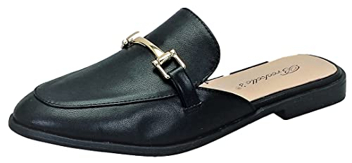 Breckelles Minky-01 Women Mule Oxford Slide Slip On Flat Sandal Shoe Slipper Black