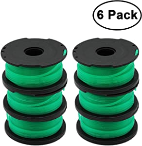 "RONGJU 6 Pack Weed Eater Replacement Spools for Black and Decker GH3000 GH3000R LST540 LST540B String Trimmer Spool SF-080 SF-080-BKP with 20ft 0.080"" Trimmer line"