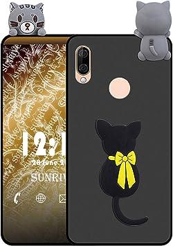 Sunrive Coque pour Wiko View 3 Lite, Silicone Étui Mat 3D Housse Protecteur Souple Gel Back Case(W1 Chat) Stylet OFFERTS
