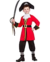 Boys Pirate Captain Black Red Fancy Dress Party Costume Halloween Child Outfit