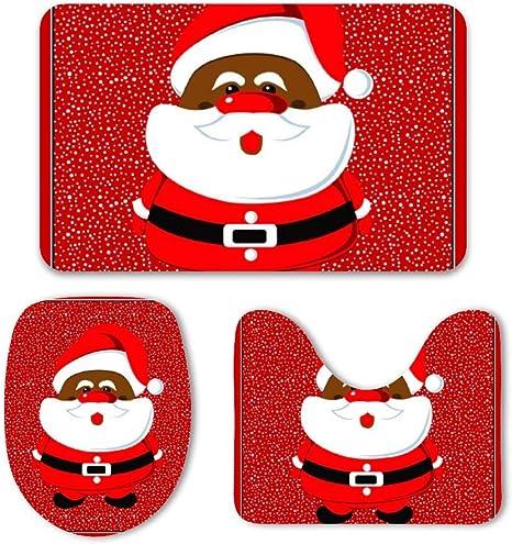 Amazon Com Yilooom African American Santa Claus Christmas 3 Piece Bath Mat Set Bath Rug Set Soft Non Slip Bathroom Rugs For Kitchen Shower And Toilet Home Kitchen