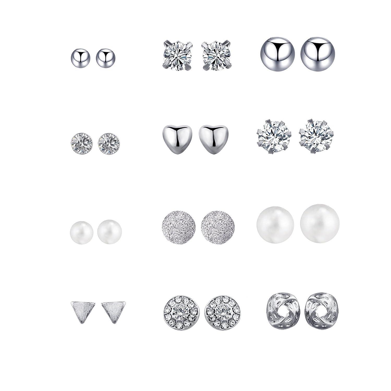 Sundear 6/12pairs White Crystal Punk Geometric Stud Earrings Peach Heart Piercing Earrings Sets for Women