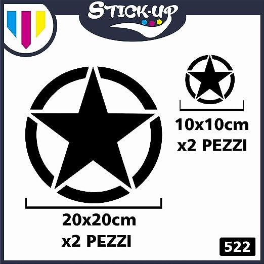 Juego de 4 pegatinas de estrella militar, 20 x 20 cm, 10 x 10 cm, 4 x 4 cm, laterales para capó, Jeep Suzuki Offroad, pegatinas laterales para coche ...