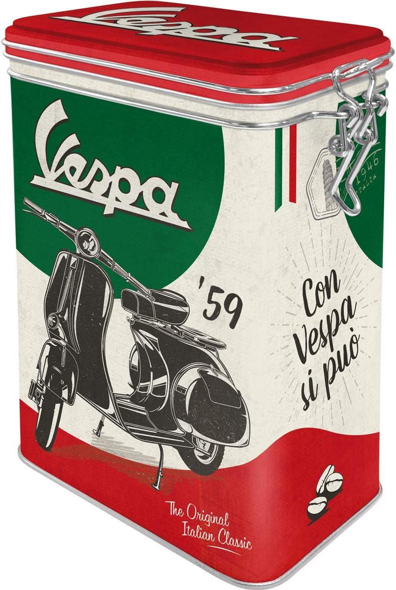 Nostalgic-Art Caja de café Retro Vespa Italian Classic – Idea de Regalo para Aficionados as Scooters, Metal, Diseño Vintage, 1,3 l