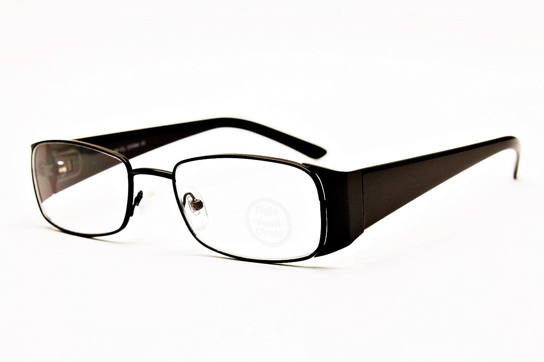 A188-vp Metal Rectangular Clear Lens Eyeglasses Sunglasses B1163F Black-Clear