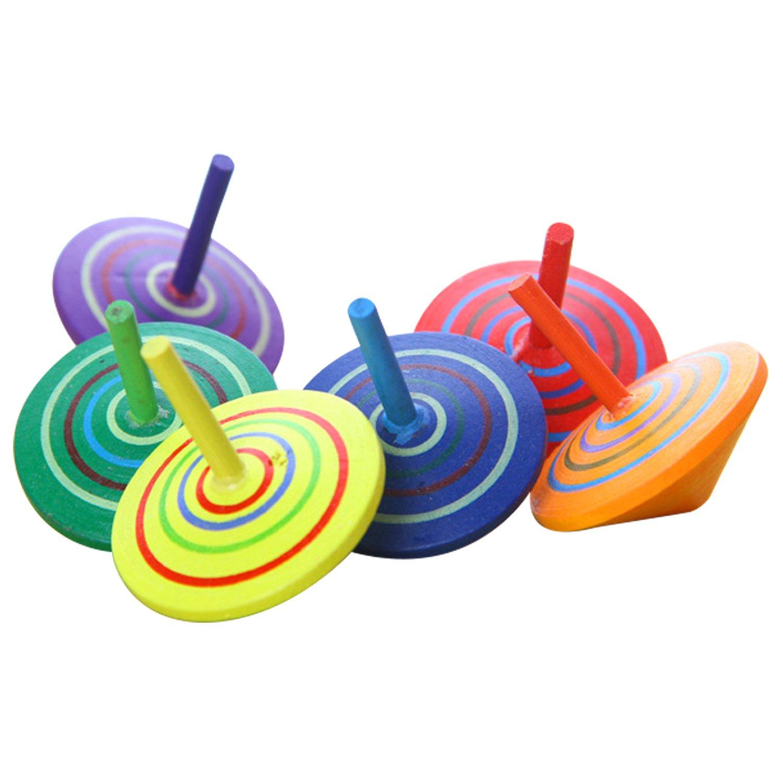Beetest Toupie en Bois, 6 pcs couleurs assorties à la main peint en bois Spinning Top Toy enfants jouets éducatifs pour la maternelle enfant enfants