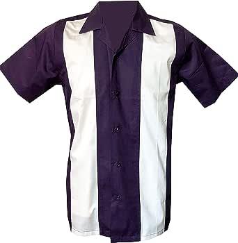 Rockabilly Fashions - Camisa casual con botones para hombre de los años 50, 1960, retro, color malva blanco M-3XL: Amazon.es: Ropa y accesorios