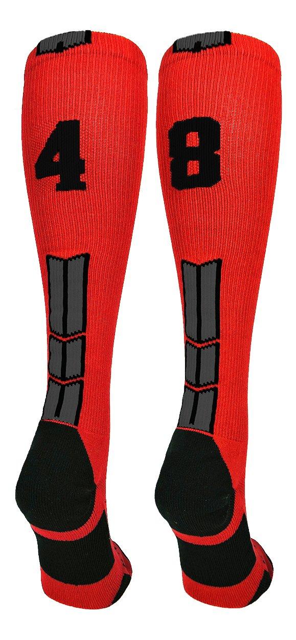 MadSportsStuff Red/Black Player Id Custom Over The Calf Number Socks...