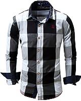 JoJoJoy Men's Casual Long Sleeve Plaid Button Down Shirt Contrast Color Block Pattern