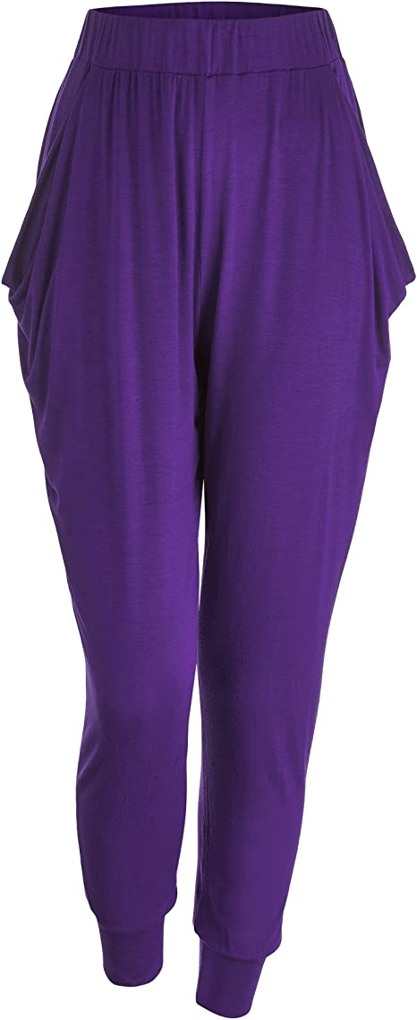 LL Womens Solid Color Fitness Yoga Harem Pants with Pockets - Made in USA