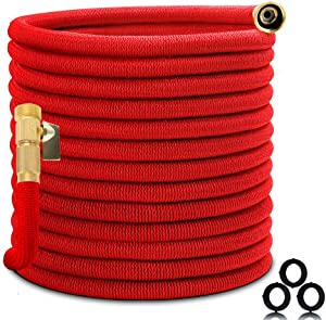 "Homes Garden Expandable Garden Hose 75 FT, No Leaking, No Kink, Flexible, Lightweight, Super Durable 3750D Fabric, 3/4"" Solid Brass Fittings, ON/OFF Valve (Spray Nozzle Not Included) #G-W024A01-US"