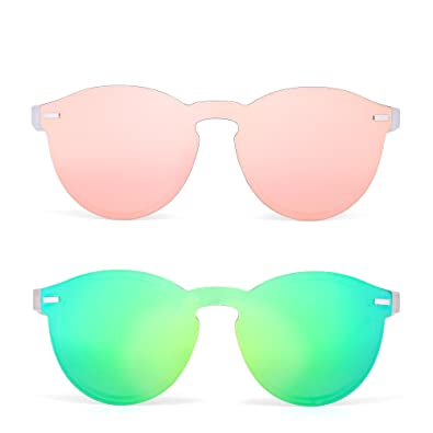499fc55db8 JIM HALO Rimless Polarized Sunglasses for Women Men Round One Piece Mirror  Lens 2 Pack Pink