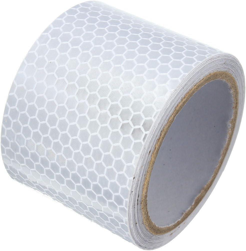 Demarkt Reflektorband Selbstklebende Sicherheit Warnklebeband Reflektierende Aufkleber Nacht Reflektor Tape Warntafel Warnband Weiß Baumarkt