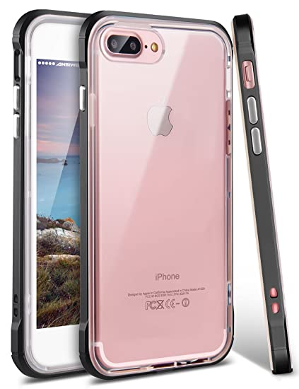 new product f18f8 ebda0 iPhone 8 Plus Case, iPhone 7 Plus Case, Ansiwee Shockproof Armor iPhone 7  Plus Protective Defender Impact Resistant Slim Fit Rubber Bumper Case Cover  ...