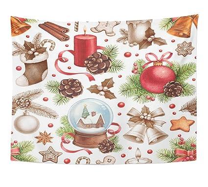 Vintage Christmas Illustrations.Amazon Com Emvency Tapestry Watercolor Vintage Christmas