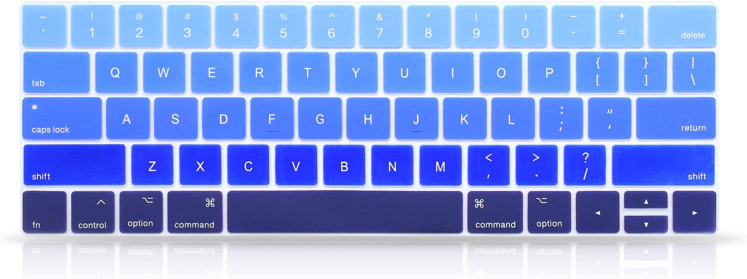 ProElife Blue Gradient Keyboard Cover Ultra Thin Keyboard Protector Skin for MacBook Pro with Touch Bar 13-inch 15-inch (Model A2159, A1989, A1990, A1706, A1707) (2019 2018 2017 2016) (Ombre Blue)
