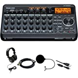 Tascam Compact Portastudio 8 Track Digital Recorder w/ Built In Microphone DP-008EX + Closed-Back Headphones + XLR 10' M-F 16AWG Gold Plated Cable + Pop Filter Mic Wind Screen w/ Mic Stand Clip