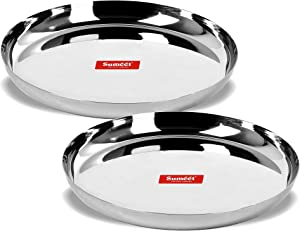 Sumeet Stainless Steel Apple Shape Heavy Gauge Dinner Plates with Mirror Finish 27cm Dia - Set of 2pc