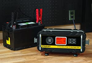 STANLEY BC25BS 25 Amp Bench Battery Charger with 75 Amp Engine Start and Alternator Check (Tamaño: 25 Amp)