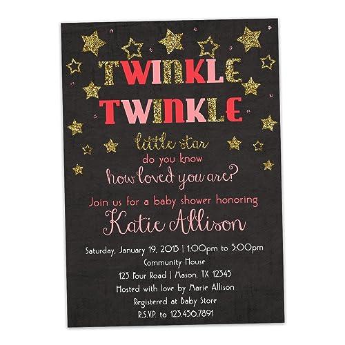 Amazon twinkle twinkle little star girl baby shower invitations twinkle twinkle little star girl baby shower invitations gold pink trendy filmwisefo