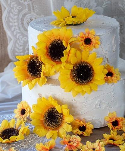 daa046d2bb0a3 Artificial Silk Sunflower Heads, Sunflower Baby Shower Decorations,  Sunflower Wedding Table Decor, Bridal Shower Decor,Cake Flowers, 20 pieces
