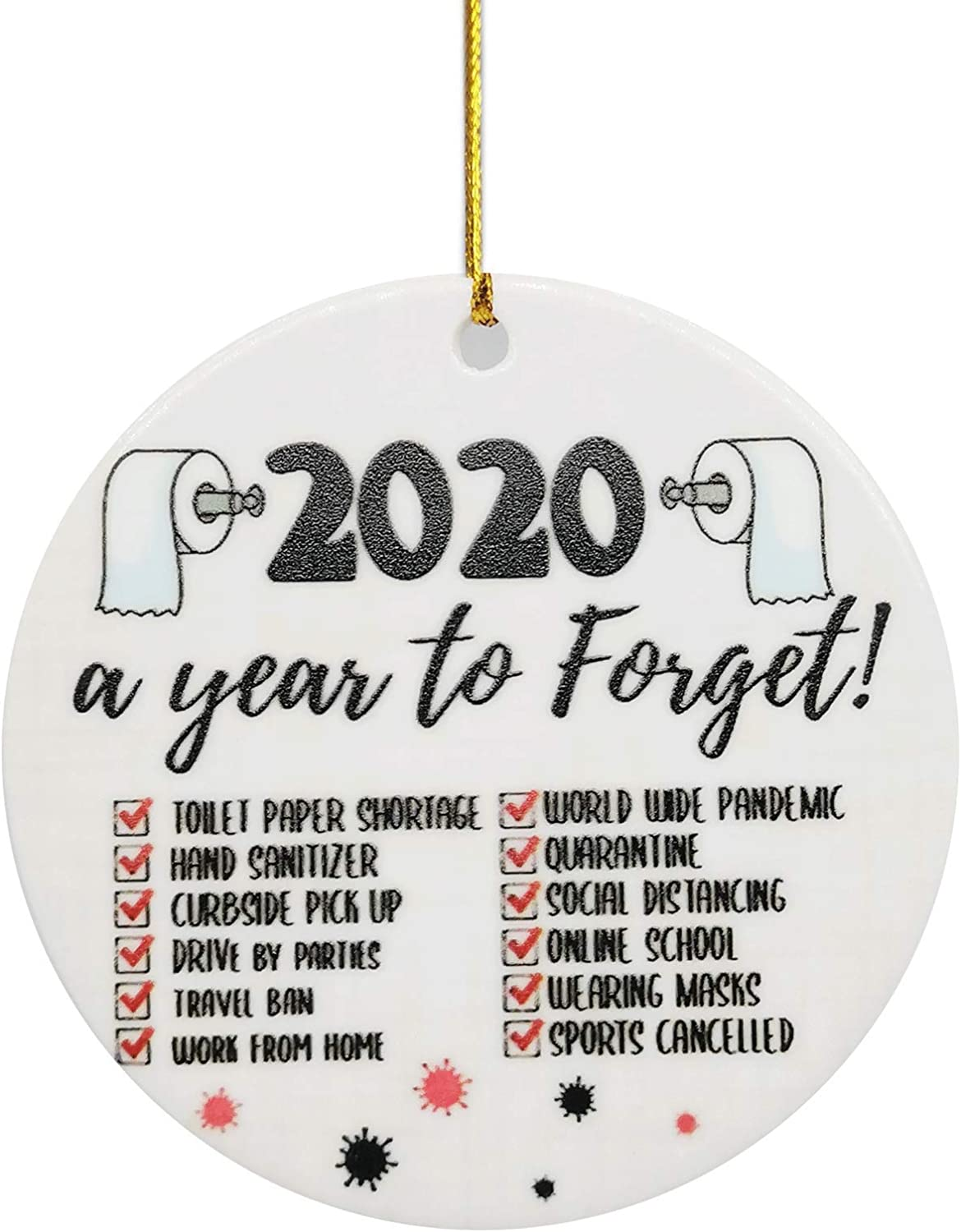 BCARICH 2020 Christmas Ornament Quarantine, Cute Hanging Ornament, 2020 Commemorative Funny Ornament, 2020 Events - A Year to Forget, Both Side Printed Printed Circle Ceramic Ornament, 1 pcs
