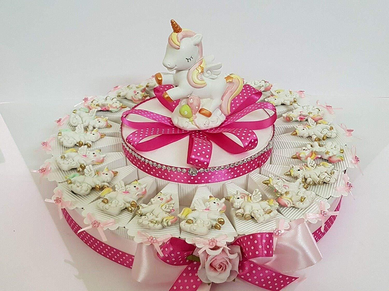 20 FETTE 1 Piano Resina Torta BOMBONIERE Unicorno Rosa Magnete Battesimo Comunione Nascita Compleanno