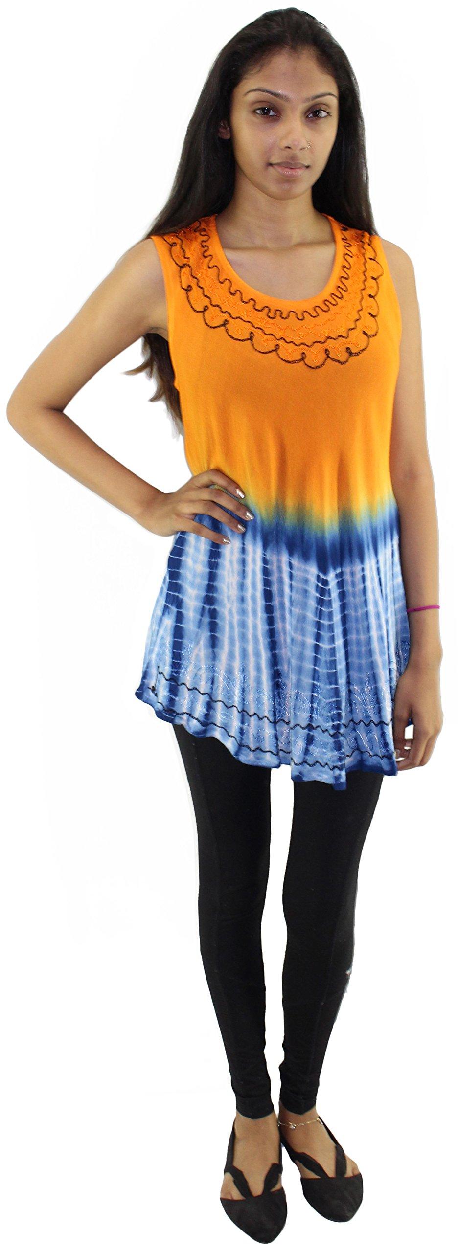 Tye It Up Women's Bohemian Summer Sleeveless Blouse (Orange2)