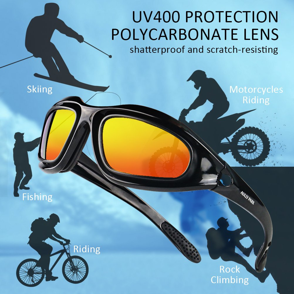 f27881fbc4ca AULLY PARK Polarized Motorcycle Riding Glasses Black Frame with 4 Lens Kit  for Outdoor Activity Sport