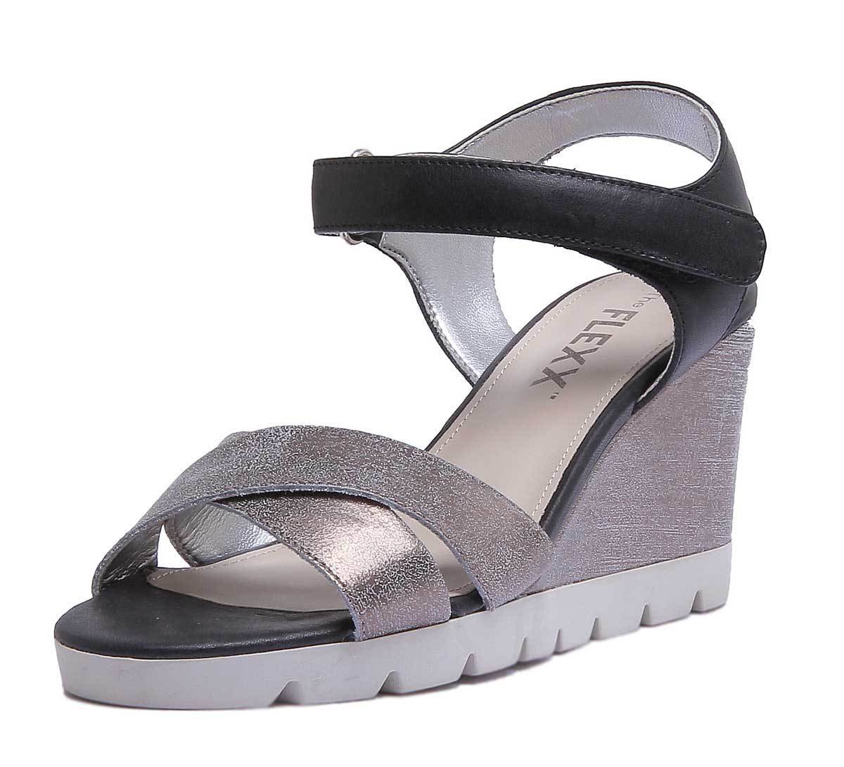 The FLEXX Lot Off Womens Golden Tan Leather Matt Sandal B07DPN5626 9.5 B(M) US|Silver Black
