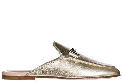 Tods Damen Leder Sandalen Pantolette Gold